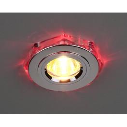 Точечный светильник с красной светодиодной подсветкой Elektrostandard 2020/2 SL/LED/RD (хром / красный)