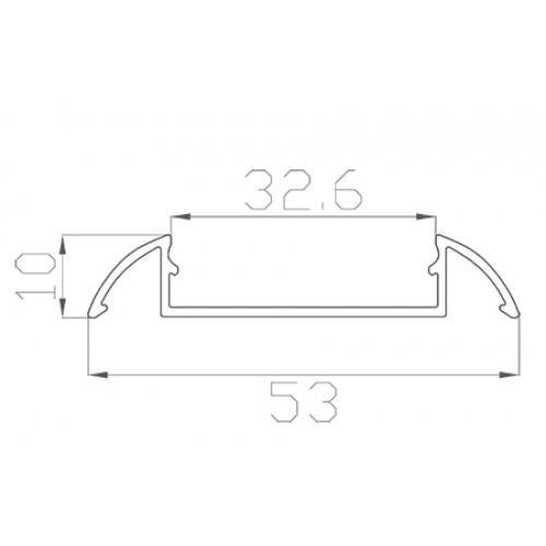 Профиль алюминиевый для порогов LC-LPP-1053-2 Anod